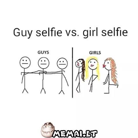 Vaikinų selfie vs merginų selfie
